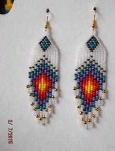 Native American Style Beaded Peacock Eye Earrings Frost Gold