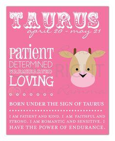 TAURUS Zodiac Nursery / Kids Room Art Print - 8 x 10. $20.00, via Etsy.