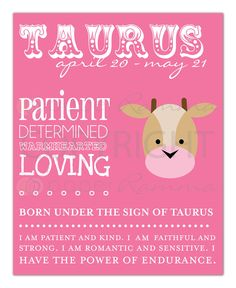 TAURUS Zodiac Nursery / Kids Room Art Print - 8 x 10. $20.00, via Etsy.