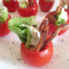 PammiesPantry.com | BLT Stuffed Tomatoes. These tomatoes are a real crowd pleaser and so easy to throw together for a party. All of the ingredients can be made ahead and then put together right before your guests arrive.