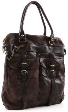 Campomaggi Lavata Tote Leather dark-brown 38 cm - C1245VL-1701 - Designer Bags Shop - wardow.com