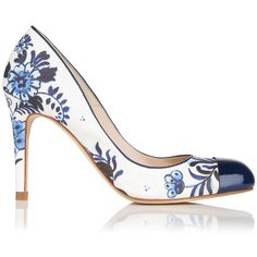 L.K. Bennett Bruton Toe Cap Leather Court Shoe ($280) ❤ liked on Polyvore