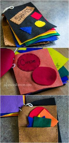 DIY felt book of shapes. Trust me, even if you can't sew (which I can't) you can make this. Fantastic hands on way for toddlers to learn shapes colors and it doubles as a nice quiet time activity.