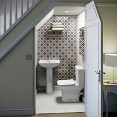 downstairs toilet utility room under stairs Bathroom Under Stairs, Downstairs Bathroom, Under The Stairs Toilet, Down Stairs Toilet Ideas, Small Basement Bathroom, Small Wc Ideas Downstairs Loo, Door Under Stairs, Kitchen Under Stairs, Space Under Stairs