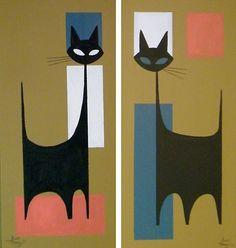 2 El Gato Gomez Paintings Retro Mid Century Modern Eames 1950s Atomic Cat Witco | eBay