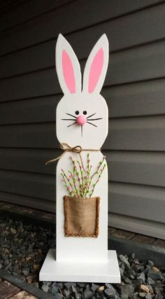 Wooden Bunny Easter Bunny White Wooden Bunny Stand / Spring