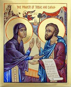 Icon the Prayer of Tobias and Sarah. It's such a lovely representation. Catholic Art, Catholic Saints, Tobias, St Thomas, Wisdom Books, John The Baptist, Prayer Cards, Religious Icons, Orthodox Icons