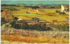 Harvest at La Crau Wheatfields Vincent Van Gogh Art Poster 11x17
