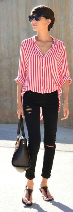 Red Stripes Outfit Idea by Divina Se Nace