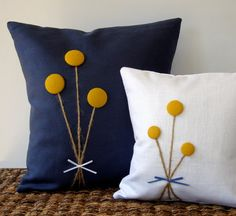 Yellow Billy Ball Flower Pillow in White Linen