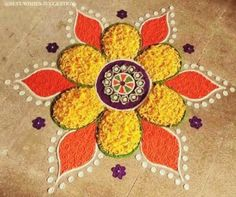 Quick and Easy Rangoli Ideas for Diwali 2019 you would love to copy from 22 Quick and Easy Rangoli Ideas for Diwali 2018 you would love to copy from Rangoli Designs Simple Diwali, Indian Rangoli Designs, Rangoli Designs Latest, Small Rangoli Design, Colorful Rangoli Designs, Rangoli Ideas, Beautiful Rangoli Designs, Easy Rangoli For Diwali, Diwali Designs