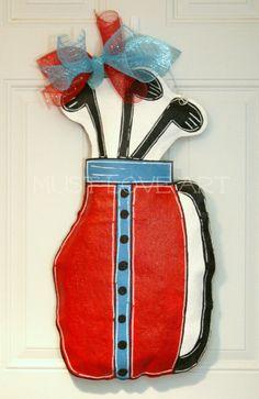 Golf Bag Burlap Door Hanger Decoration by MustLoveArtStudio, $40.00