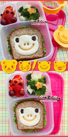 Kids School Lunch - CuteZcute Frog Sandwich with Broccoli Cauliflower Strawberry and Grapes, packed in and #EasyLunchboxes Brights