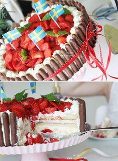 Jordgubbstårta med glasskräm & jordgubbsmousse | HUSnrNIO V2
