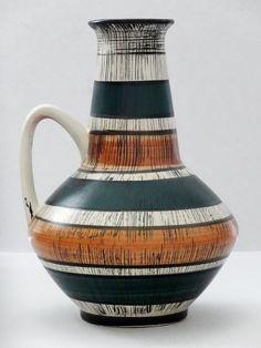 Pottery & China Polish Pottery Vintage Pair Of German Vases By Handgermalt Mid Century Gold Stripe Decoration