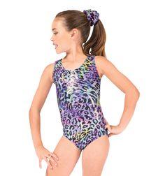 Perfect Balance Child Rainbow Cheetah Metallic Gymnastic Tank Leotard