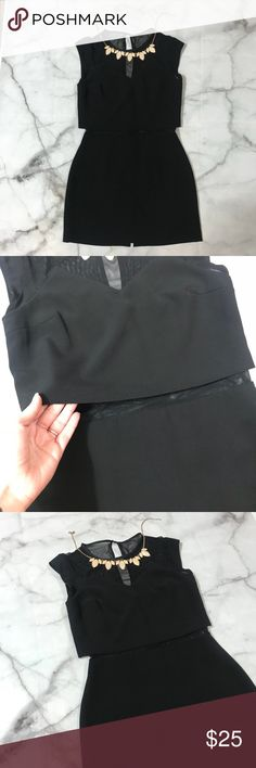 Express Little Black Dress, Mesh on Top and Middle Super cute dress with mesh on top and also on the midsection. Slit on the back on bottom and peephole in the mesh on top. Express Dresses