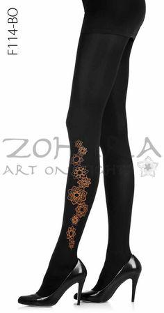 0e78e40fafe6a Flowers Tights Black And Orange Dress, Opaque Tights, Black Tights, Floral  Tights,