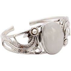 NOVICA Rainbow Moonstone Cuff Bracelet in Sterling Silver Handmade ($143) ❤ liked on Polyvore featuring jewelry, bracelets, moonstone, hinged cuff bracelet, sterling silver cuff bangle, cuff jewelry, floral cuff bracelet and sterling silver jewelry