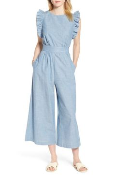Looking for 1901 Ruffle Sleeve Crop Jumpsuit (Regular & Petite) ? Check out our picks for the 1901 Ruffle Sleeve Crop Jumpsuit (Regular & Petite) from the popular stores - all in one. Chambray Jumpsuit, Cotton Jumpsuit, Jumpsuit Outfit, Casual Jumpsuit, Jumpsuit With Sleeves, Summer Jumpsuit, Lace Jumpsuit, White Jumpsuit, White Pants
