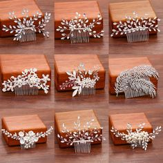 Rhinestone Hair Comb Types Of Metal, Wedding Accessories, Wedding Engagement, Happy Shopping, Place Card Holders, Hair Combs, Bridal, Metals, Handmade