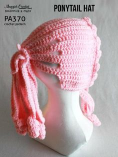 PA370-R Ponytail Hat Crochet Pattern by Maggie Weldon. $4.04. 5 pages. Publisher: Maggie's Crochet (February 25, 2013). Ponytail Hat Crochet PatternPonytail Hat Pattern  - Add a creative touch to your child's winter weather attire with this adorable Ponytail Hat. This classic pattern is simple to make with worsted weight yarn. Skill Level: EasySize: One size fits most children.                            Show more                               Show less