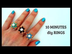 Beading tutorial about how to make beaded rings. Use seed beads and bicone beads. Choose any color of beads and make your favorite color of beaded ring. Easy Beading Patterns, Beaded Jewelry Patterns, Beading Tutorials, Tutorial Anillo, Ring Tutorial, Bead Jewellery, Diy Jewelry, Pearl Jewelry, Jewelry Rings