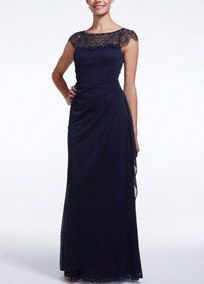 Classic style meets vintage flare in this gorgeous cap sleeve beaded illusion neckline!  Cap sleeve bodice features breathtaking vintage style illusion beaded neckline.  Long sheer matte jersey dress with side ruched detail helps create a stunning silhouette.  Fully lined. Back zip. Imported polyester. Professional spot clean.Also available in Petite sizes as Style XS4843P.  Also available in Plus sizes as Style XS4843W.