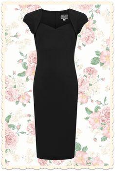 Best-seller: la robe style années 50 Regina noire, forme crayon près du corps en tissu stretch et boléro en trompe l'œil, petites manches casquette, décolleté cœur. Via missretrochic.com
