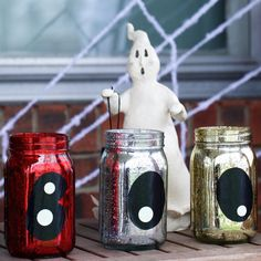 """DIY Halloween """"Boo"""" Jars Made with Black and Glow in the Dark Duck Tape"""