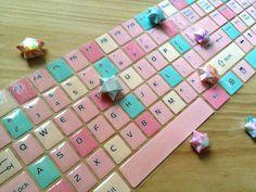 Glittler Mosaic Keyboard sticker fancy computer Sticker colorful cute Laptop skin PC desktop sticker fancy computer cover alphabet sticker