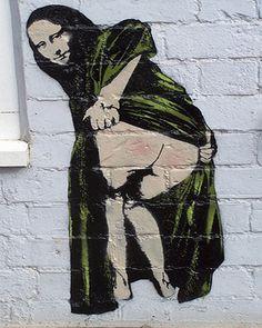 Banksy canvas Mona Lisa sobrenatural Street arte Grafitti