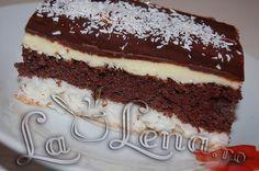 "Prajitura ""O noapte la Venetia"" coconut chocolate cake - LaLena. Romanian Desserts, Chocolate Cake, Coconut Chocolate, Sweets Recipes, Something Sweet, Tiramisu, Sweet Treats, Cheesecake, Cooking"