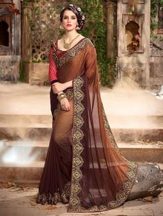 LadyIndia.com # Office Wear, Designer Brown Colored Two Shaded Sari Beautiful Party Wear Saree, Printed Sarees, Casual Sarees, Formal Sarees, Office Wear, Sarees, https://ladyindia.com/collections/ethnic-wear/products/designer-brown-colored-two-shaded-sari-beautiful-party-wear-saree