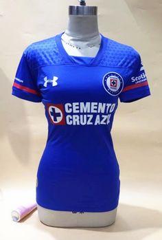 38c254fdc3d 2017-18 Cruz Azul Home Blue Thailand Female Soccer Jersey AAA