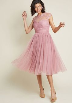 Emphasis on Opulence Fit and Flare Dress in Dusty Rose