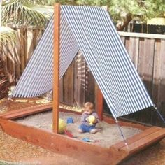 """Cute sandbox ideas for your backyard. Bateau Sandbox, """"Sandbox - I want the roof of this to be the roof of Madison's play house. Kids Outdoor Play, Kids Play Area, Backyard For Kids, Diy For Kids, Garden Kids, Backyard Ideas, Backyard Shade, Garden Shade, Outdoor Toys"""