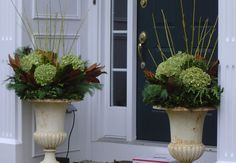 Christmas planters with dried hydrangea