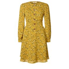 Orla Kiely: Silk crepe de chine long sleeve dress in 'Hidden Hedgehog' print. Dress has button through placket at front. Midi length flared skirt. Sleeve gently gathers into cuff band. Fully lined.        Length: 38.6in