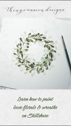 Wreaths can be challenging to paint. So join me in my latest class to get all the best tips and demonstrations! Watercolor Flowers Tutorial, Wreath Watercolor, Floral Watercolor, Watercolor Art Lessons, Watercolor Paintings For Beginners, Guache, Diy Canvas Art, Floral Wreath, Wreaths