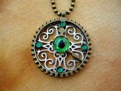 Gothic Steampunk - Evil Eye - Dragon - Pendant - Gears Clock - Bronze Emerald Green - OOAK - Color shift - Hand Painted - one of a kind by LadyPirotessa for $15.98