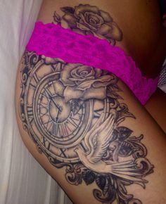 Hip thigh rose clock tattoo