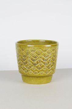 retro Blumentopf, Pflanzentopf, Übertopf vintage, WGP, grüner Keramiktopf, flower pot, west german pottery, Blumenpott, Ritzdekor