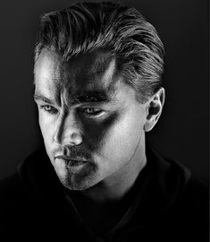 Leonardo Dicaprio by Marco Grob. Normally I don't like portraits with shadows but this one is very dramatic.: Leonardo Dicaprio by Marco Grob. Normally I don't like portraits with shadows but this one is very dramatic. Celebrity Photographers, Celebrity Portraits, Kreative Portraits, Foto Portrait, Old Man Portrait, Portrait Lighting, Too Faced, Black And White Portraits, Black And White Photography Portraits