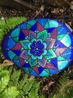 Blue and Green Mandala Stone by rockdalas on Etsy