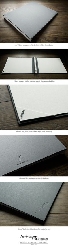 This is a presentation portfolio book that we made for an architect called Simon Feather. The outer cover is in plate grey and the inner cover is in conwy cream. He had three different die plates made which we used to stamp his logo on the front, the back, the spine and the business card holder.