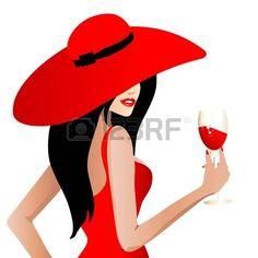 mujer con sombrero: bella mujer en el vestido rojo, vector