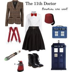 11th Doctor Costume for a Girl/ you know who I would kill for this costume? Anyone. 11th Doctor Costume, Doctor Who Costumes, Dr Who Costume, Doctor Who Cosplay, Eleventh Doctor, Doctor Woo, Doctor Who Outfits, Fandom Outfits, Doctor Who Dress