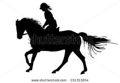 Prance horse black silhouette, vector illustration isolated on white background.Beautiful girl polo player in horse race. by dovla982, via ...