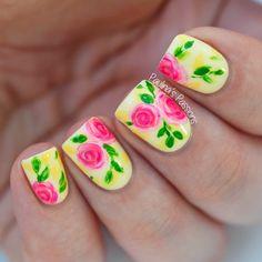 Colorful-Rose-Nail-Art
